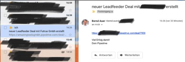 Automatisiertes Email mit Link zum Deal