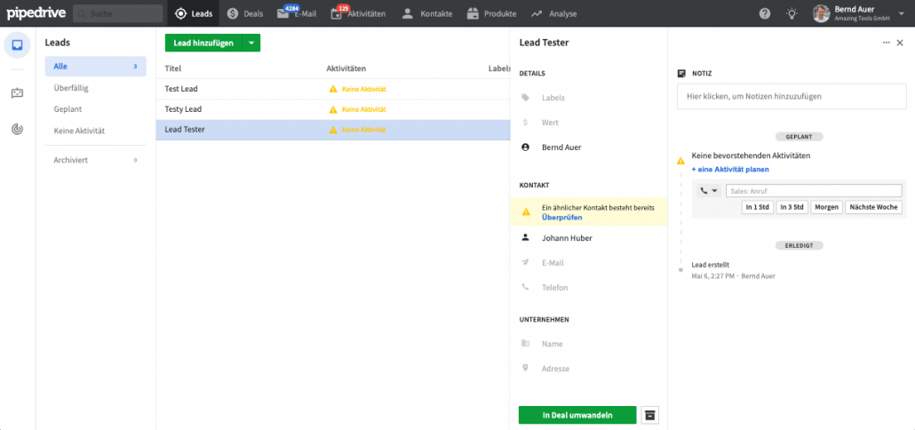 neue Lead Funktion in Pipedrive